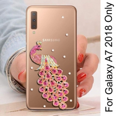 Rhinestone Bling Diamond Gold Peacock Soft Silicone Transparent Bumper Back Cover for Samsung Galaxy A7 2018 (Pink)